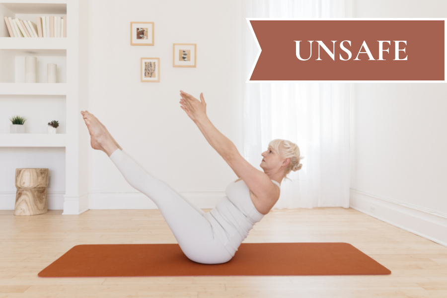 A woman demonstrates a pilates pose you should avoid for resolving diastasis recti